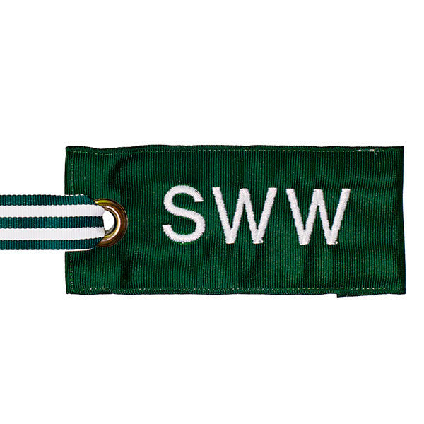 Personalized Hunter Green Luggage Tag White Text
