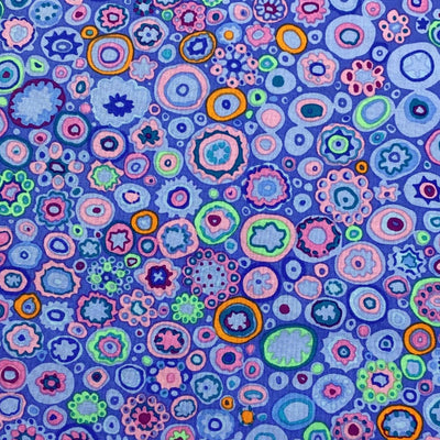 fabric pattern blue multi-color dots