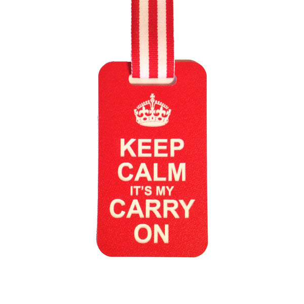 red luggage tag with Keep Calm Carry On Quote