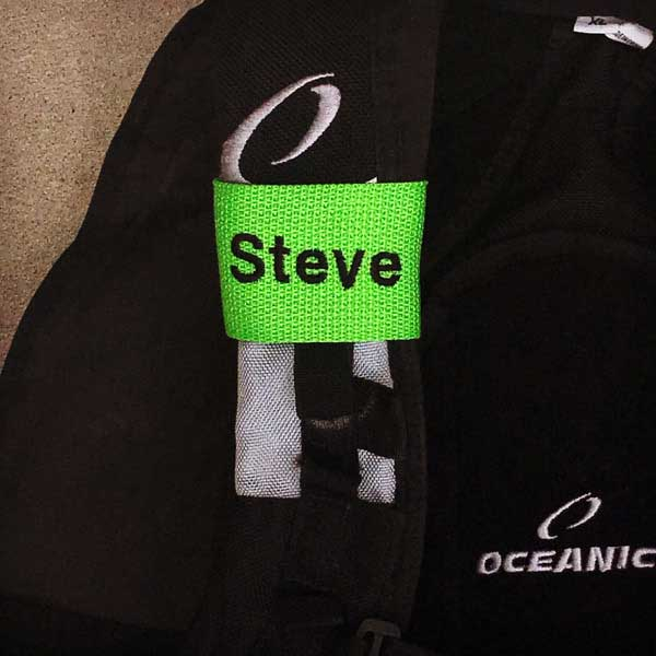 Neon Green Scuba BCD Name Tag with Black Text from YourBagTag