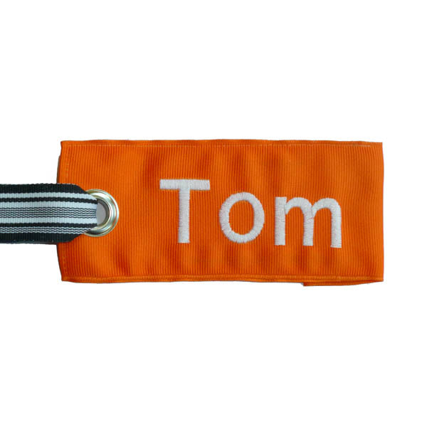 Orange fabric luggage tag tuxedo stripe ribbon handle