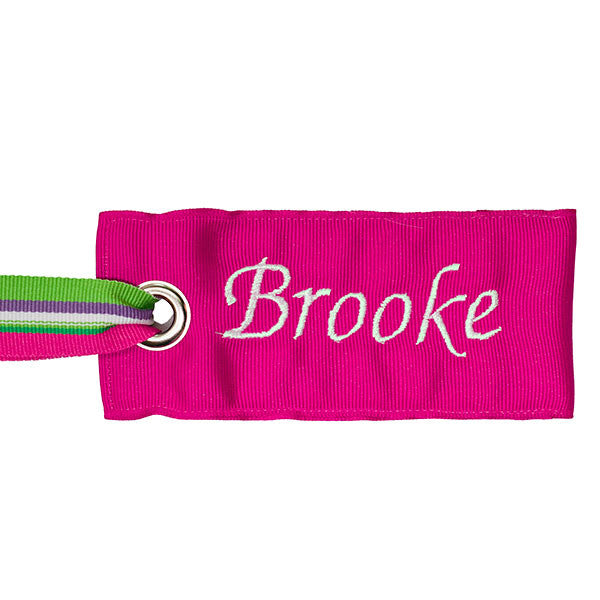 personalized pink luggage tag with fabric handle