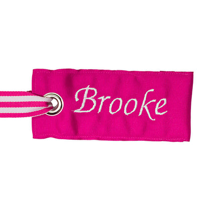 personalized pink bag tag from YourBagTag