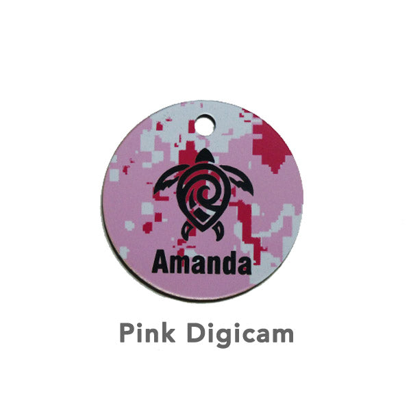 Pink Digicam Scuba Equipment Tag Engraved Turtle
