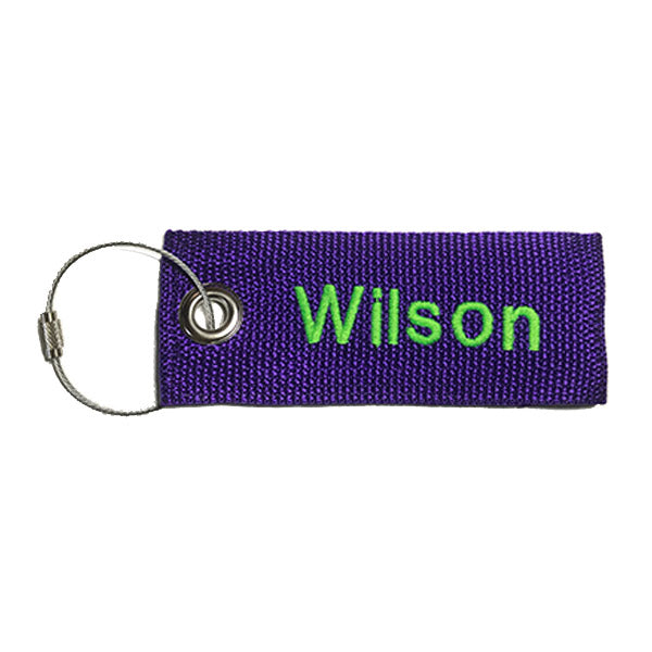 Purple Extreme Luggage tag Neon Green Lettering Embroidered