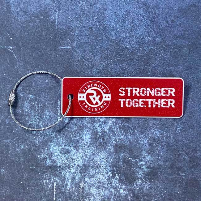 rx strength training gym bag tag red with logo - stronger together text