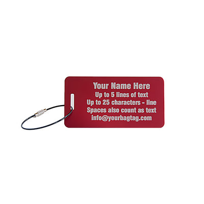 Custom aluminum metal luggage tags shown in red with engraving