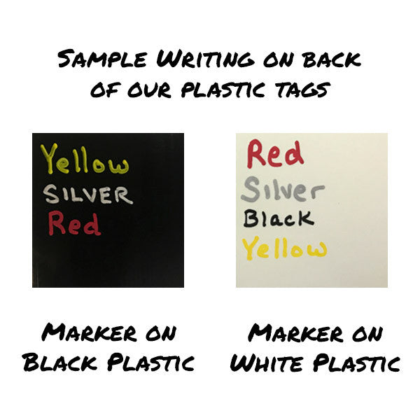 Sample Oil-Based Sharpie writing on white and black plastic