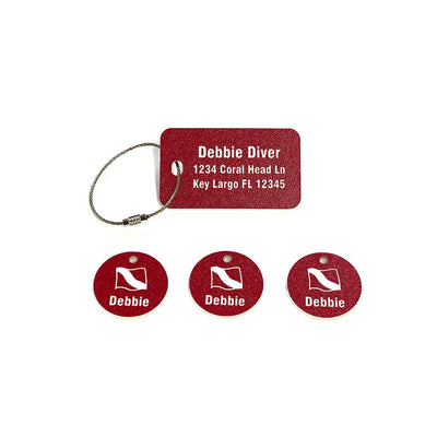 Scuba Equipment Tag Combo Pack - Red with Scuba Flag Graphic