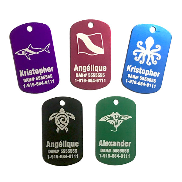 Aluminum Dog Tags Engraved Scuba Red Blue Green Black Purple