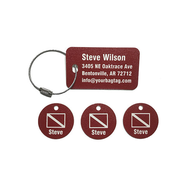 Scuba Equipment Tag Combo Pack Red with Scuba Flag Graphic