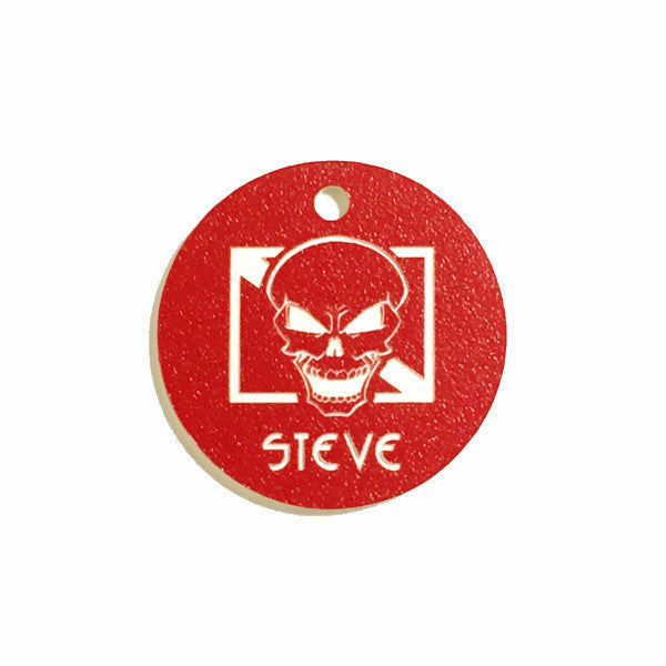 Dive skull scuba equipment tag red-white from yourbagtag