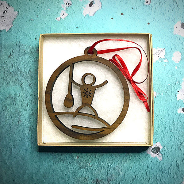 Stand-up paddle board Christmas tree ornament in box