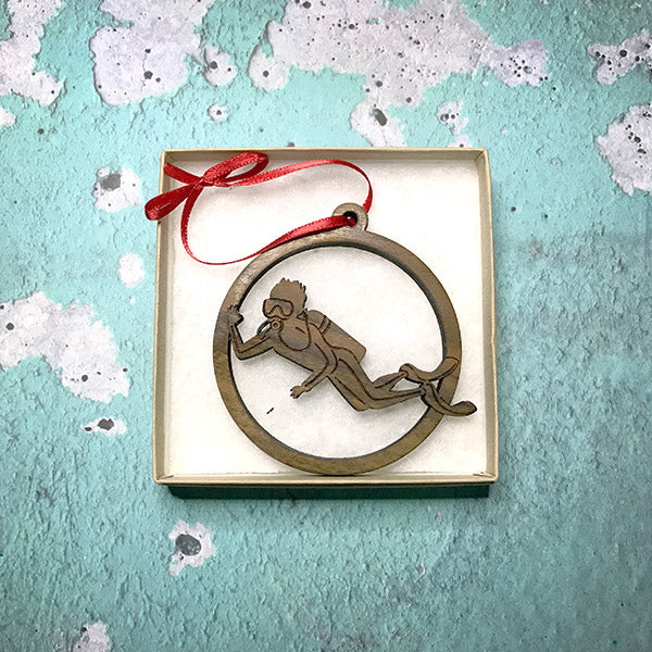 Wooden Christmas Ornament swimming scuba diver