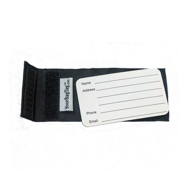 back of black luggage tag with address card insert