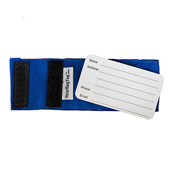 Back of custom blue luggage tag from YourBagTag