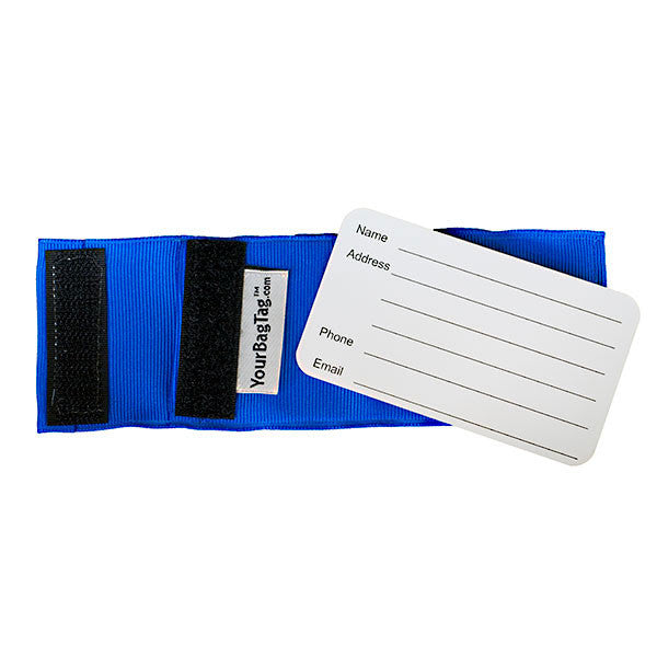 Blue custom luggage tag back with address card