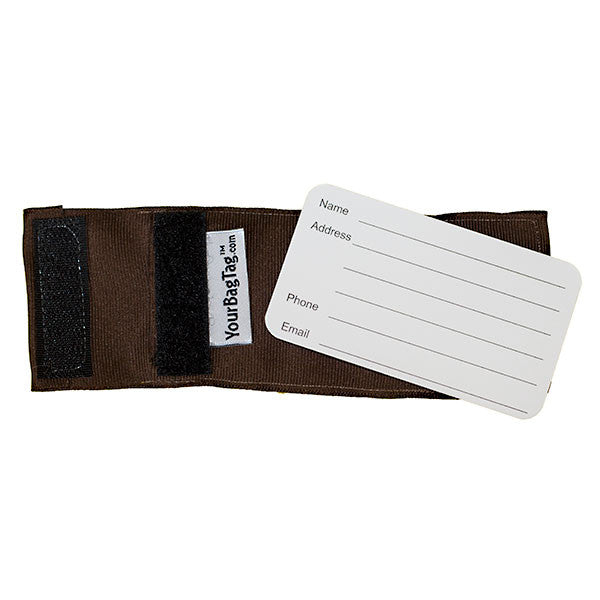 Back Brown Luggage Tag Address Card Insert YourBagTag