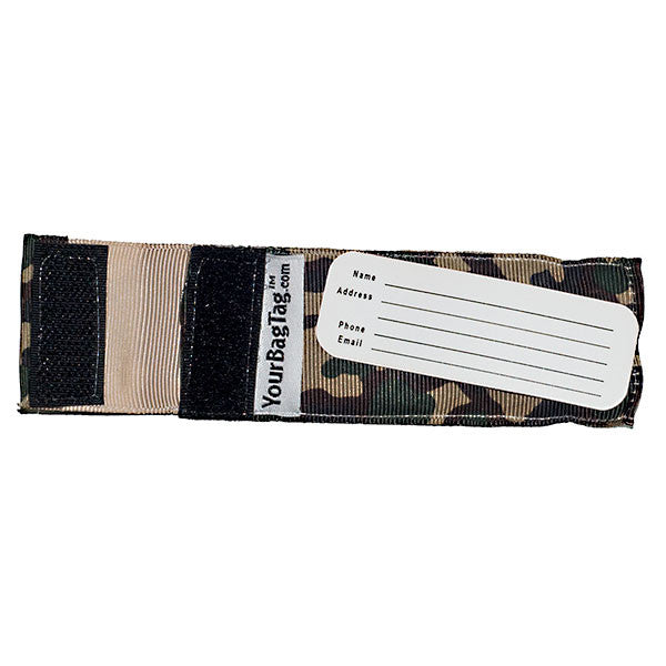 Back of mini camo luggage tag with address card insert