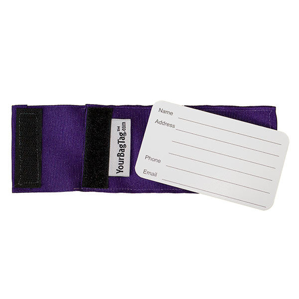 Dark Purple Luggage Tag back showing address card insert
