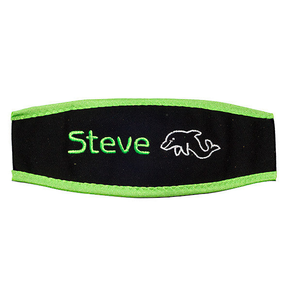 Custom Neoprene Scuba Mask Strap Cover Green Edge