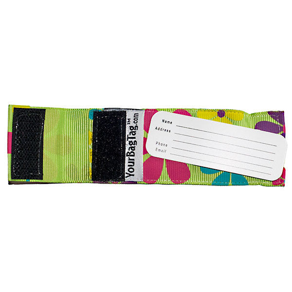 Mini luggage tag flower print back with address card insert