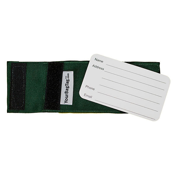 Hunter Green Luggage Tag Back with Address Card Insert