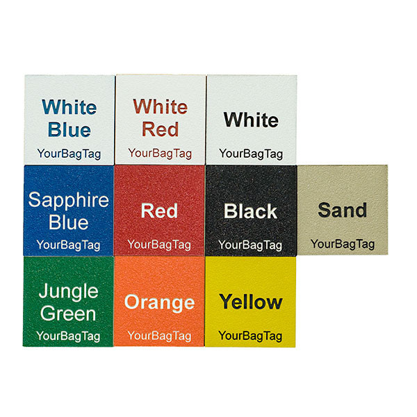 YourBagTag plastic luggage tag color options