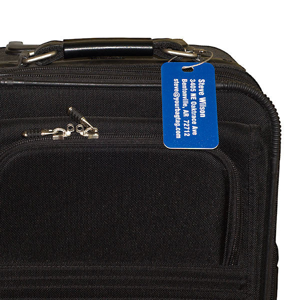 Blue custom luggage tag from YourBagTag