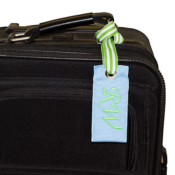 YourBagTag Light Blue Luggage Bag Tag on Suitcase