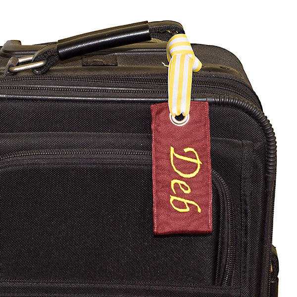 classy maroon custom luggage tag from YourBagTag