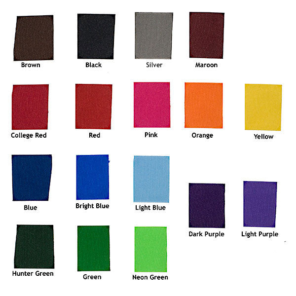 Fabric luggage tag color chart for YourBagTags