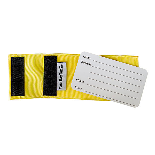 back of custom yellow luggage tag showing insert card