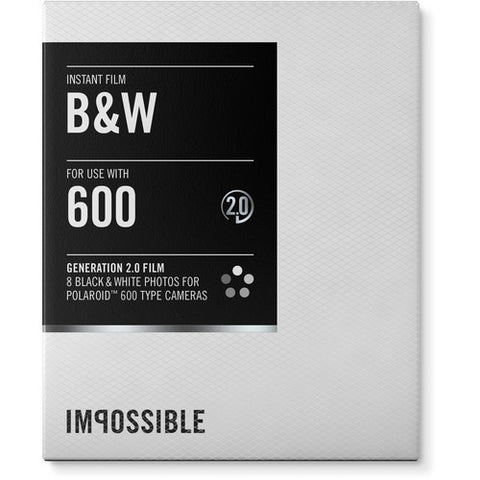 Impossible Black & White 2.0 Instant Film for Polaroid 600 Cameras (White Frame, 8 Exposures)