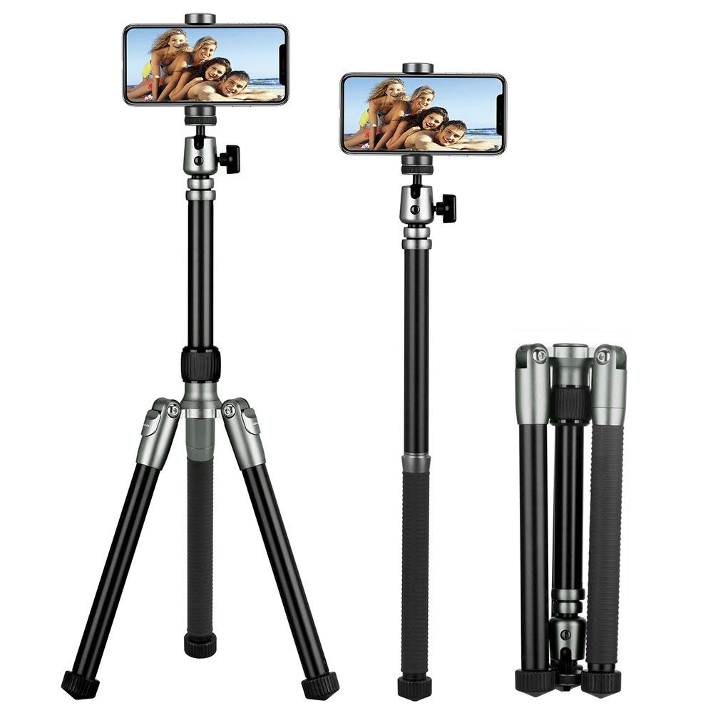 MOMAX Compact Alluminum Tripod, 56 Inch 1.87lbs Portable Lightweight Alluminum Alloy Camera Tripod Monopod Stand with Ball Head Phone Grip and carry bag for DV Canon Nikon Sony DSLR Cameras (Grey)