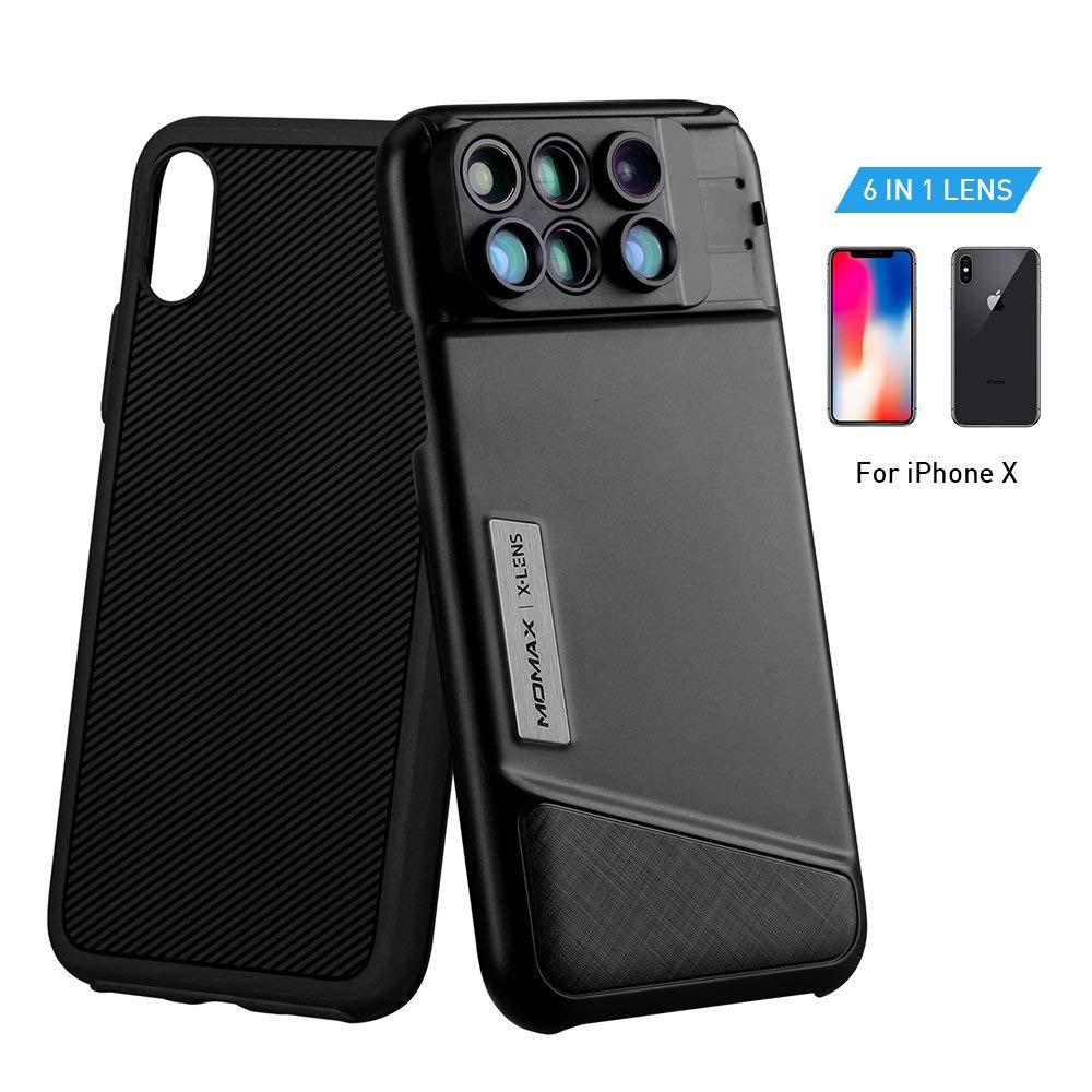 quality design 5ee56 885ce MOMAX Lens Case for Apple iPhone X: 6 in 1 Dual Optics Lens Kit (180 ...