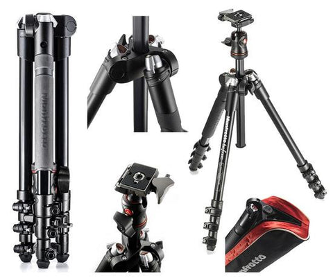 Manfrotto MKBFRA4-BH BeFree Compact Travel Aluminum Alloy Tripod, Black