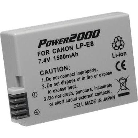 Power2000 LP-E8 Replacement Lithium-Ion Battery, 7.4 volt 1500mAh, for Canon EOS Rebel T2i Digital Camera