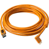 Tether Tools USB 3.0 Type-A Male to Micro-USB Right-Angle Male Cable (15', Orange)