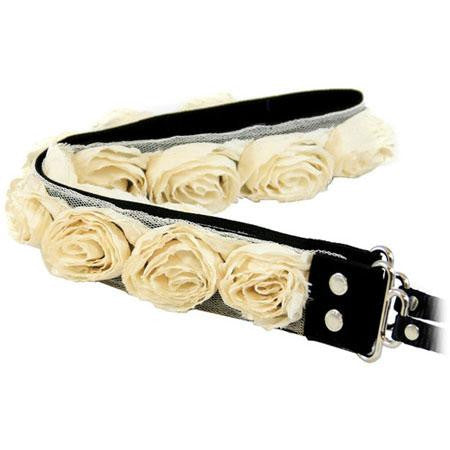 "Camera Straps by Capturing Couture: Floral Collection, The Cream/Off White Organza 1.5"" DSLR/SLR Fashion Camera Strap"