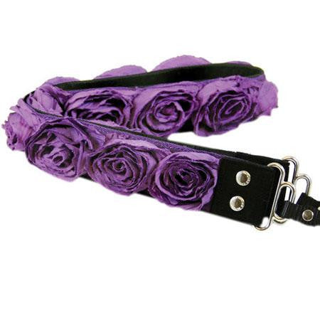 "Camera Straps by Capturing Couture: Floral Collection, The Purple Organza Ostrich Candy 1.5"" DSLR/SLR Fashion Camera Strap"