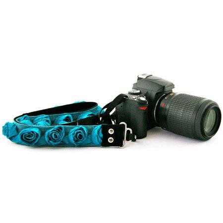 "Camera Straps by Capturing Couture: Floral Collection, Turquoise Organza 1.5"" SLR/DSLR Fashion Camera Strap"