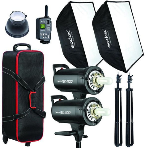 Godox 400w Studio 2 head Kit SK400II - 2 16 transmitterSoftbox - 2 Stands - 1 bag - XT-