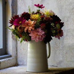 Dahlia, Cosmos,  <br>rosemary and berried ivy