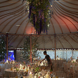 Event styling and flowers <BR> by Bayntun Flowers with  <BR> an upside-down garden  <BR> in collaboration with  <BR>Electric Daisy Flower Farm