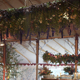 Upside-down-garden <br> of Bayntun Flowers, <br>event collaboration <br>with Electric Daisy <br>Flower Farm