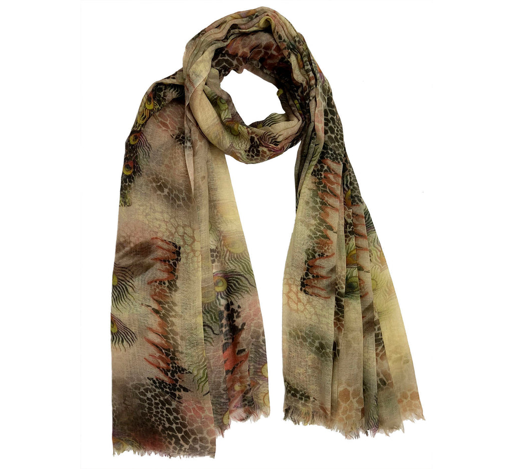 Aimal print cashmere scarf
