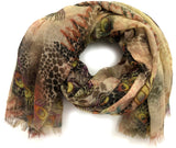 Thin Wool Scarf with Animal digital print - Wool Scarves