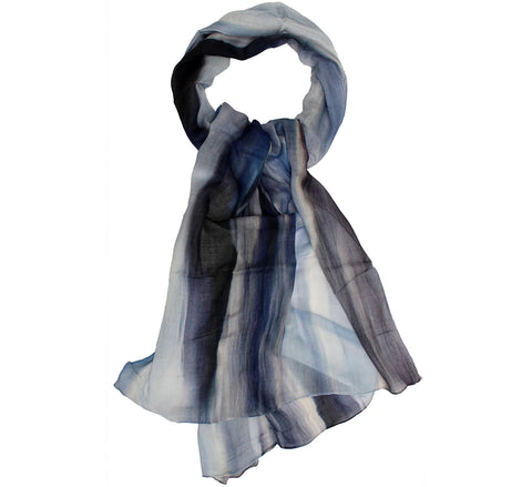 Grey and blue scarf | long scarf