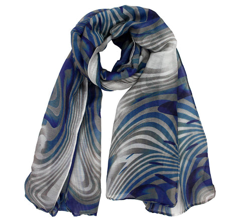 Blue ripple Cotton Silk Scarf